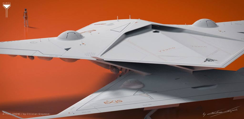 Project Ourea Sci-Fi Novel and Concept Art Book project; AIPAC Drone; Grey Renders