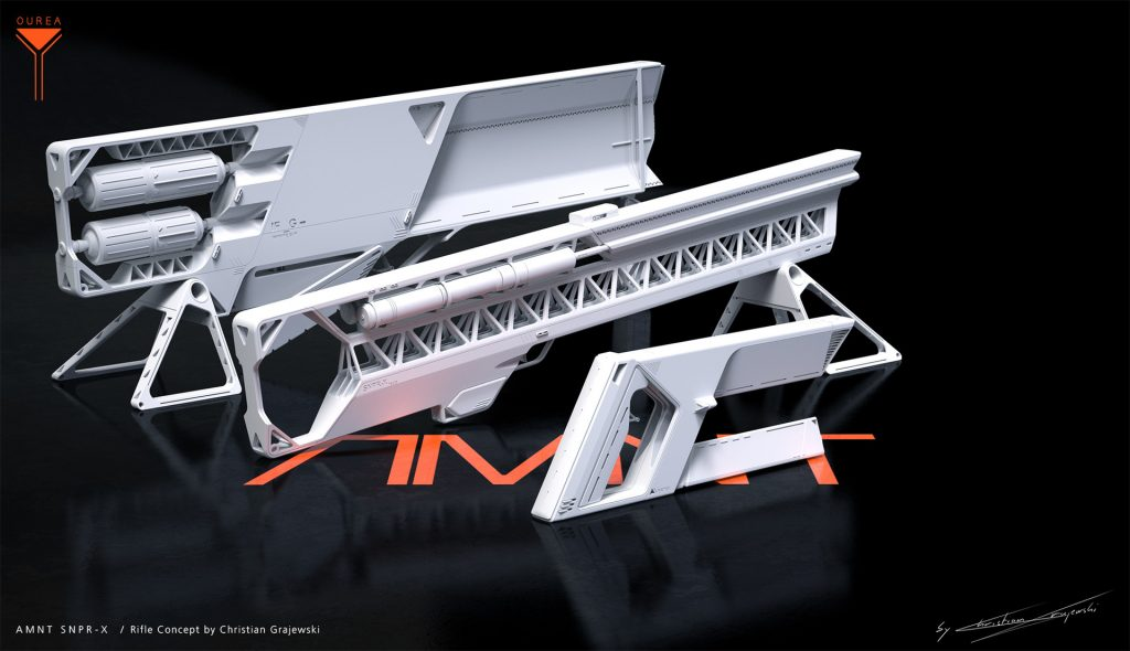 Project Ourea Sci-Fi Novel and Concept Art Book project; AMNT SNPR X Rifle Concept